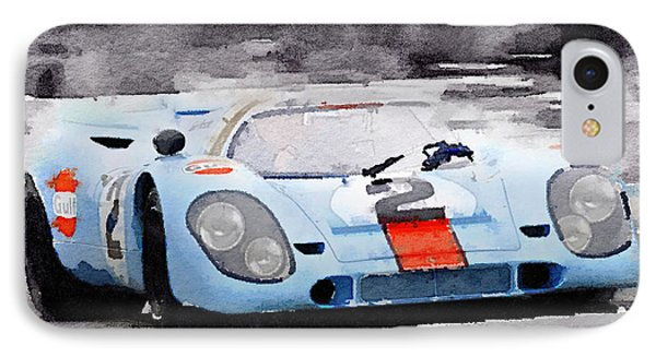 Porsche 917 Gulf Watercolor IPhone Case by Naxart Studio