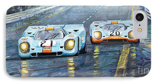 Car iPhone 7 Case - Porsche 917 K Gulf Spa Francorchamps 1971 by Yuriy Shevchuk