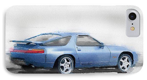 Porsche 928 Watercolor IPhone Case by Naxart Studio