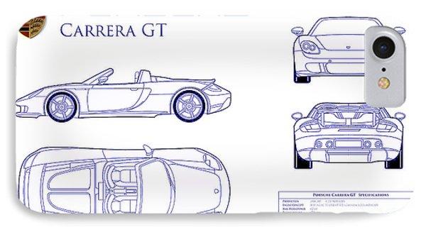 Porsche Carrera Gt Blueprint IPhone Case by Jon Neidert