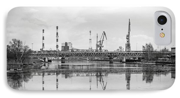 Port Cranes Near Szczecin Port. IPhone Case by Christopher Adamin