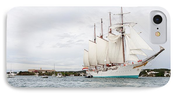 Juan Sebastian De Elcano Famous Tall Ship Of Spanish Navy Visits Port Mahon In Front Of Bloody Islan IPhone Case