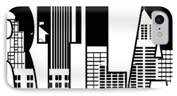Portland City Skyline Text Outline Illustration IPhone Case by Jit Lim