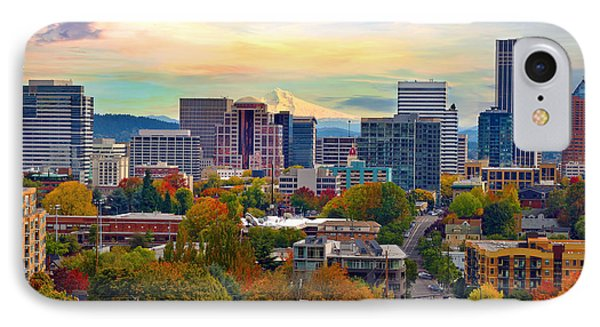 Portland Downtown Cityscape In The Fall IPhone Case