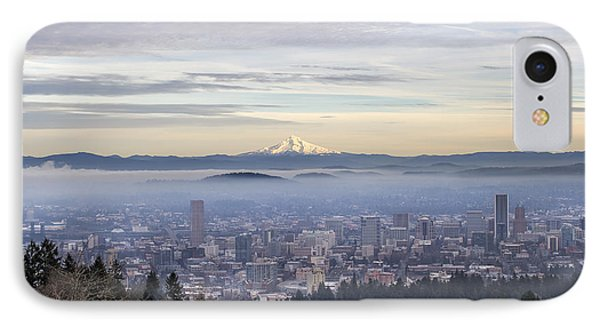 Portland Downtown Foggy Cityscape IPhone Case by Jit Lim