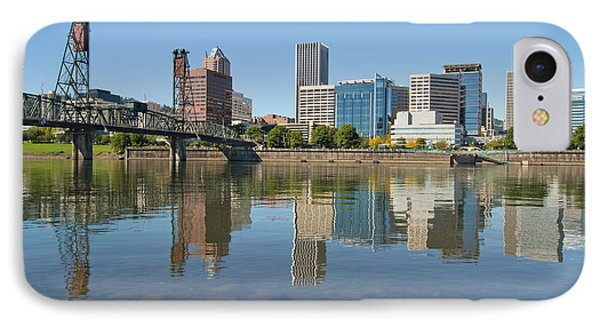IPhone Case featuring the photograph Portland Downtown Skyline And Hawthorne Bridge by JPLDesigns
