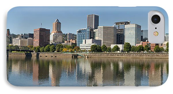 IPhone Case featuring the photograph Portland Downtown Waterfront Skyline Panorama by JPLDesigns