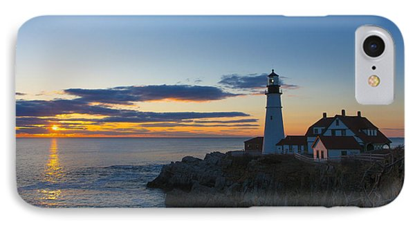 Portland Head Light At Sunrise IPhone Case by Diane Diederich