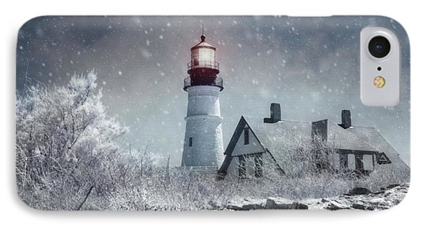 Portland Head Lighthouse Snowstorm - Cape Elizabeth Maine IPhone Case by Joann Vitali
