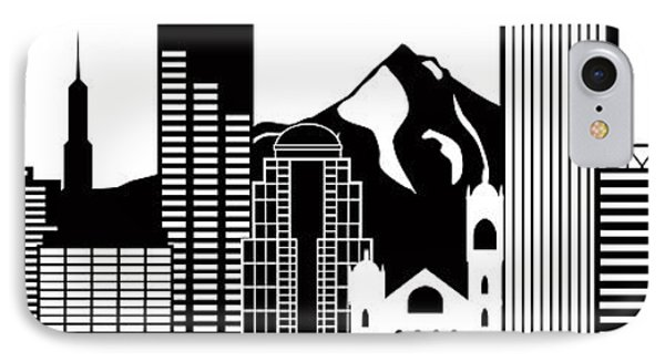 Portland Oregon Skyline Black And White Illustration IPhone Case by Jit Lim