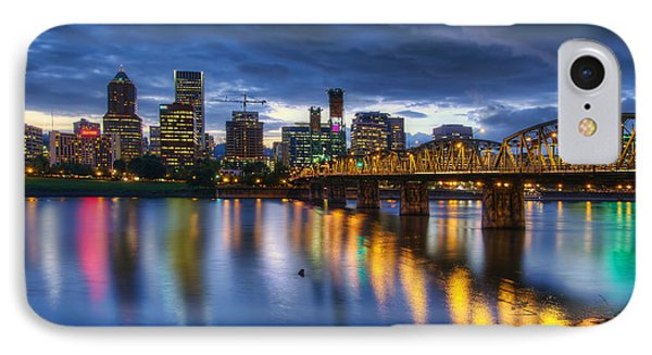 Portland Oregon Waterfront At Blue Hour Phone Case by David Gn