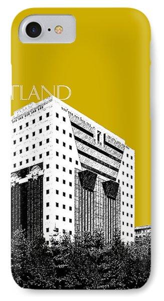 Portland Skyline Ficha Building - Gold IPhone Case by DB Artist
