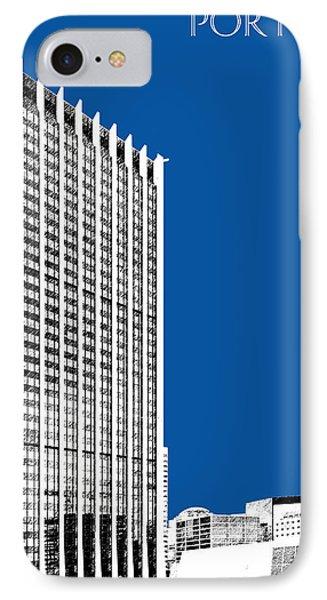 Portland Skyline Wells Fargo Building - Royal Blue Phone Case by DB Artist