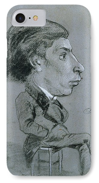 Portrait-charge, C. 1858 Black And White Chalk IPhone Case by Charles Marie Lhuillier