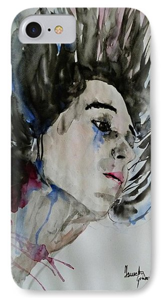 IPhone Case featuring the painting Portrait- Girl by Ismeta Gruenwald
