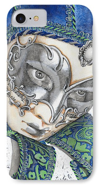 Portrait In Blue Venetian Mask - Venice - Acryl - Elena Yakubovich IPhone Case