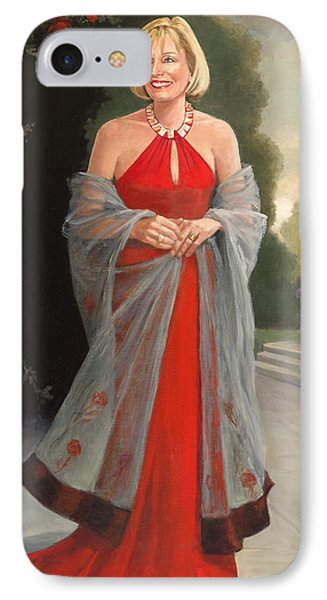 Portrait In Red Dress IPhone Case