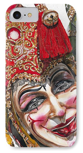 Portrait In Red Venetian Mask - Venice - Acryl - Elena Yakubovich IPhone Case