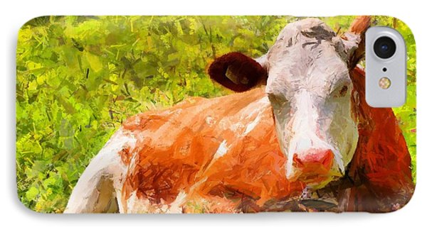 Portrait Of A Cow 2 IPhone Case by Kai Saarto