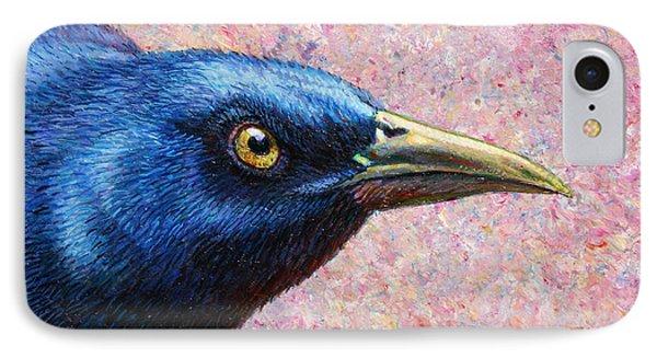 Crow iPhone 7 Case - Portrait Of A Grackle by James W Johnson