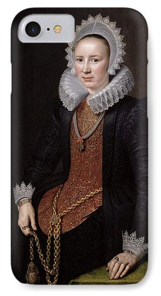 Portrait Of A Lady Aged 29, 1615 Oil On Panel IPhone Case by Michiel Jansz. van Miereveld