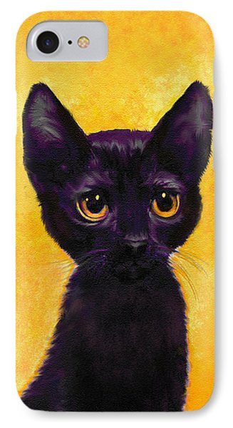 portrait of a small black cat named  LuLu IPhone Case