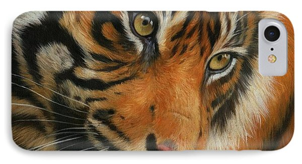 Portrait Of A Tiger Phone Case by David Stribbling