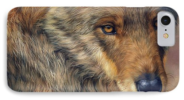 Portrait Of A Wolf Phone Case by David Stribbling