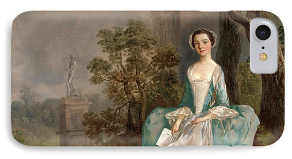 Portrait Of A Woman Girl With A Book Seated In A Park IPhone Case by Litz Collection