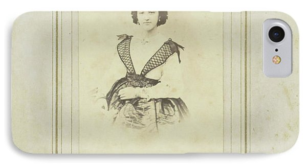 Portrait Of A Woman In A Full Skirt With A White Blouse IPhone Case