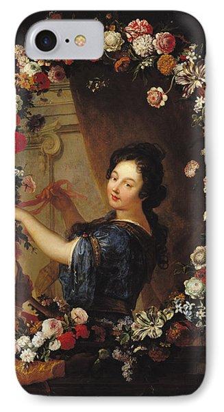 Portrait Of A Woman Surrounded By Flowers, Presumed To Be Julie Dangennes Oil On Canvas IPhone Case by J-B. Belin de Fontenay