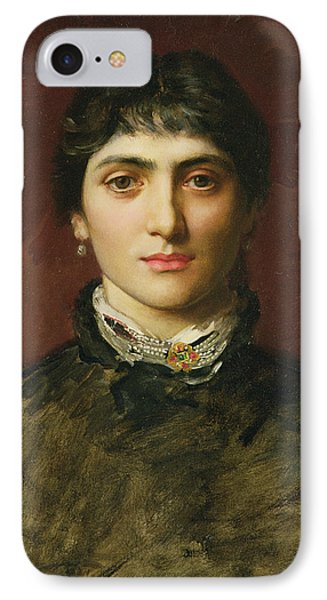 Portrait Of A Woman With Dark Hair IPhone Case by Valentine Cameron Prinsep