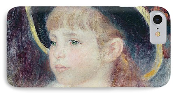 Portrait Of A Young Girl In A Blue Hat, 1881 Oil On Canvas IPhone Case by Pierre Auguste Renoir
