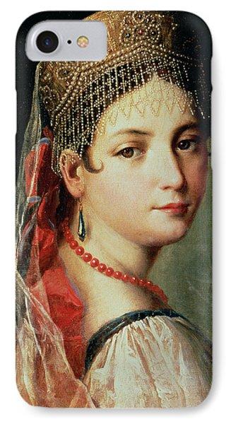 Portrait Of A Young Girl In Sarafan And Kokoshnik IPhone Case by Mauro Gandolfi