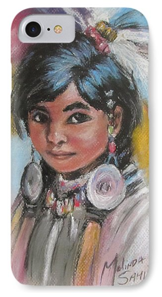 IPhone Case featuring the painting Portrait Of A Young Indian Girl by Melinda Saminski
