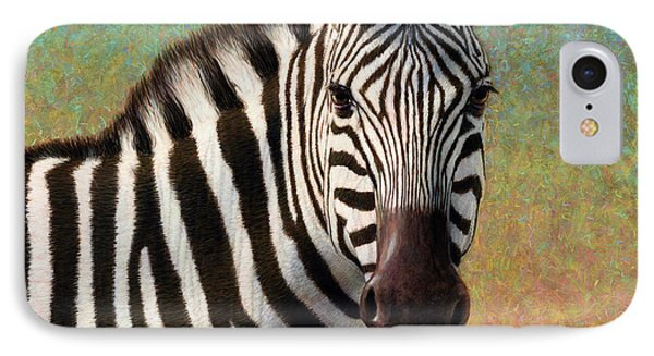 IPhone Case featuring the painting Portrait Of A Zebra - Square by James W Johnson