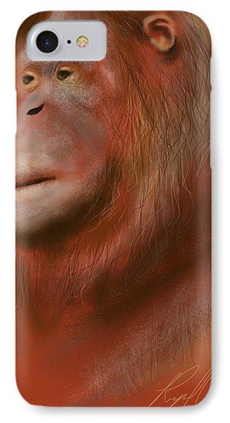 Portrait Of An Orangutan - Drawn On The Ipad IPhone Case