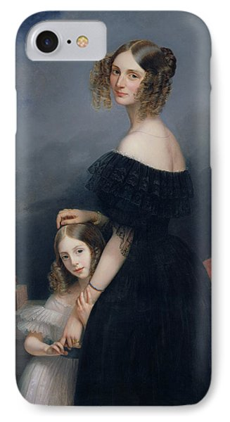 Portrait Of Anne-louise Alix De Montmorency, With Her Daughter, C.1840 Oil On Canvas IPhone Case by Claude-Marie Dubufe