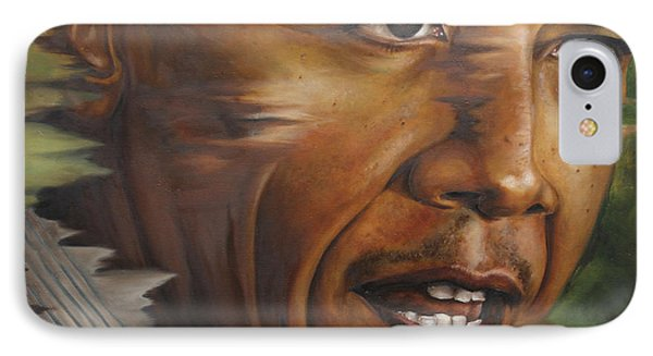 Portrait Of Barack Obama IPhone Case by Ah Shui