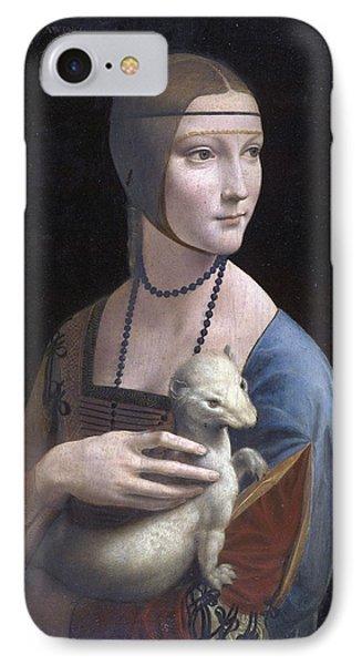 Lady With An Ermine.portrait Of Cecilia Gallerani IPhone Case by Leonardo da Vinci