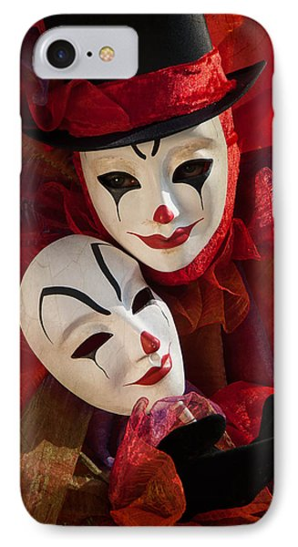 Portrait Of Clown With Mask IPhone Case by Zina Zinchik