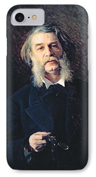 Portrait Of Dmitri Vasilievich Grigorovich 1822-99, 1876 Oil On Canvas IPhone Case by Ivan Nikolaevich Kramskoy
