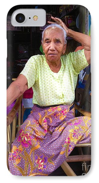 IPhone Case featuring the photograph Portrait Of Elderly Burmese Lady Sitting In Front Of Home 33rd Street Chanayethazan Mandalay Burma by Ralph A  Ledergerber-Photography