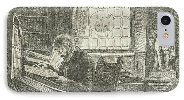 Portrait Of Frederick Verachter At His Desk In The Archive IPhone Case by Philippus Jacobus Van Bree