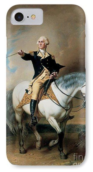 Portrait Of George Washington Taking The Salute At Trenton IPhone Case by John Faed