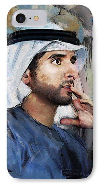 Portrait Of Hamdan Bin Mohammad Bin Rashid Al Maktoum IPhone Case by Maryam Mughal