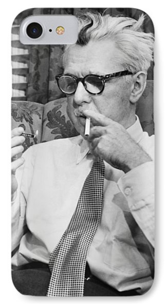 Portrait Of James Thurber IPhone Case by Fred Palumbo
