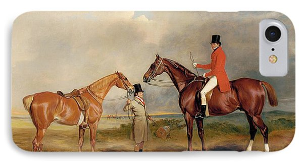 Portrait Of John Drummond On A Hunter With A Groom Holding His Second Horse IPhone Case by John E Ferneley