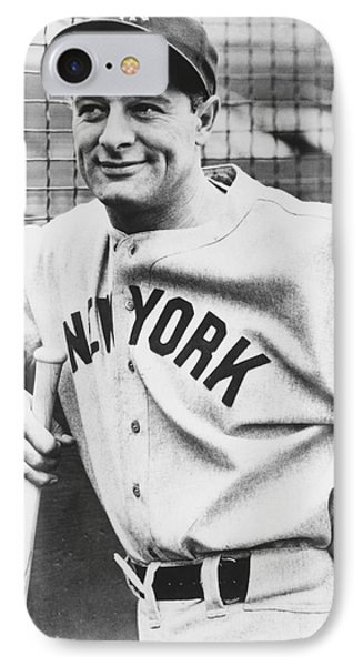 Portrait Of Lou Gehrig IPhone Case by Underwood Archives