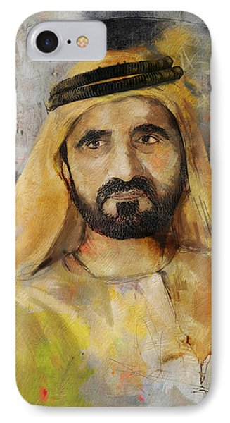 Portrait Of Muhammad Bin Rashid Al Maktoum IPhone Case by Maryam Mughal